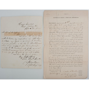 Collection of 14 Civil War Medical Documents, 1862-1865, Including a Contract with a Private Physician