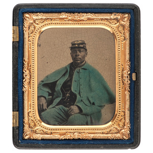 Civil War Sixth Plate Tintype of a US Colored Troops Soldier