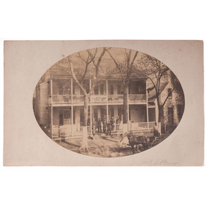 US Sanitary Commission Office Building, Albumen Photograph and Printed Handkerchief