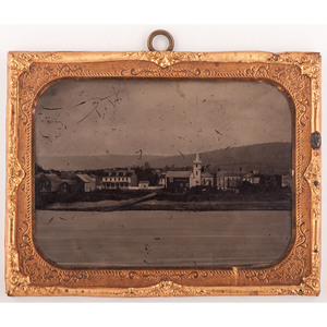 Half Plate Ruby Ambrotype of a City