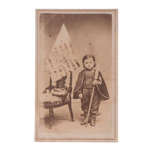 CDV of a Young Boy with Grant/Colfax Campaign Flag
