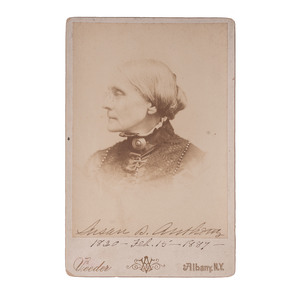 Susan B. Anthony Signed Cabinet Card and Plaque