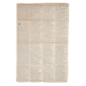 [Americana - 18th C. Newspaper/Broadsheet]  From the New-York Gazette and Weekly Mercury Single Sheet Broadsheet, With Coverage of Non-Importation Agreements, 1770