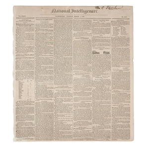 [Americana - Newspaper - President Andrew Jackson]  National Intelligencer, First Printing of Andrew Jackson's Second Inaugural Address, Washington, DC, 1833