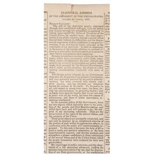 [Americana - Newspaper - President Andrew Jackson]  National Intelligencer, First Printing of Andrew Jackson's Second Inaugural Address, Washington, DC, 1833