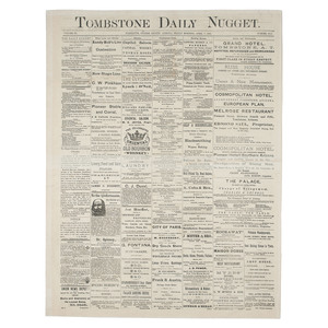 Tombstone Daily Nugget, With Articles on Wyatt Earp and the Assassination of Jesse James, Tombstone, Arizona Territory,