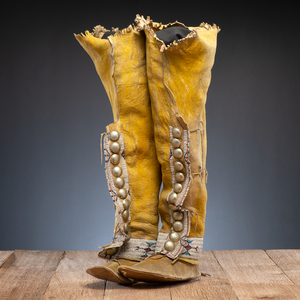 Southern Plains Beaded Hide Boot Moccasins
