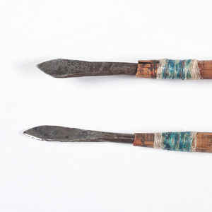 Painted Wood Bow with Arrows
