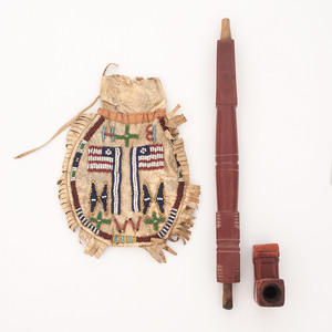 Sioux Beaded Hide Pouch with American Flags AND Catlinite Pipe