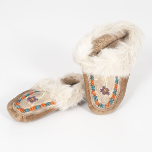 Alaskan Eskimo Child's Beaded Hide Moccasins AND Haudenosaunee Beaded Hide Purse