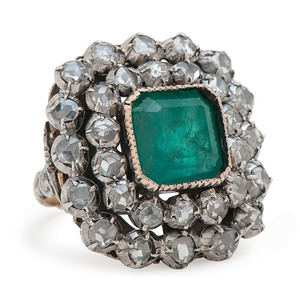 18 Karat Gold and Silver Victorian Emerald and Diamond Ring