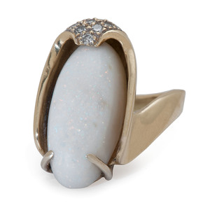 18 Karat Gold Opal and Diamond Ring