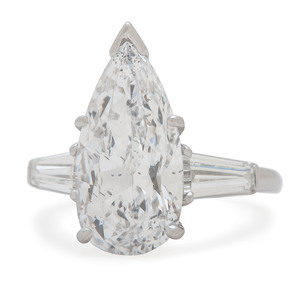 Platinum Pear Diamond Ring