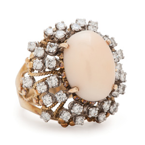 Jack Gutschneider 18 Karat Yellow Gold Coral and Diamond Ring
