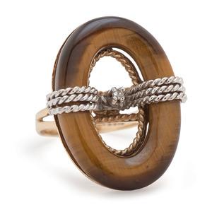 14 Karat Gold Tiger's Eye and Diamond Ring