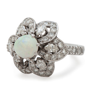 Platinum Opal and Diamond Flower Ring