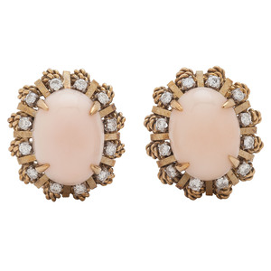 Jack Gutschneider 18 Karat Gold Coral and Diamond Earrings