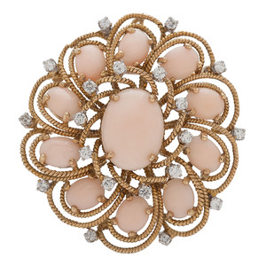 Jack Gutschneider 18 Karat Gold Coral and Diamond Brooch