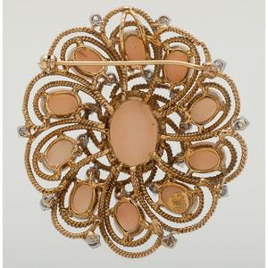 Jack Gutschneider 18 Karat Gold Coral and Diamond Brooch