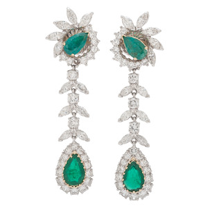 Platinum Emerald and Diamond Drop Earrings