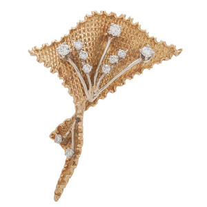 18 Karat Yellow Gold Diamond Brooch