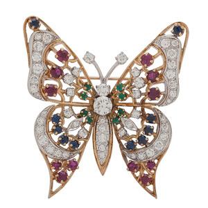 18 Karat Gold Gemstone Butterfly Brooch