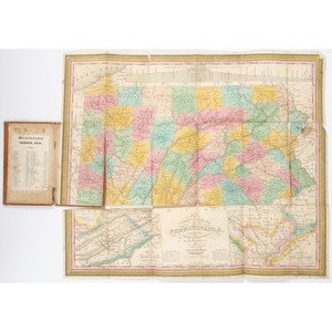 [Americana - Pennsylvania Pocket Map] Traveller's Map of Pennsylvania, 1831 with Hand Coloring