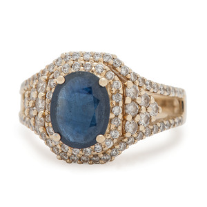 M Christoff 14 Karat Gold Sapphire and Diamond Ring