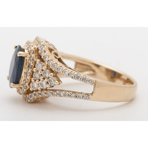 M Christoff 14 Karat Gold Sapphire and Diamond Ring