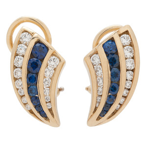 Charles Krypell 18 Karat Gold Sapphire and Diamond Earrings