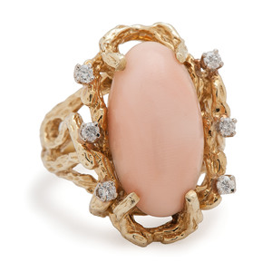 18 Karat Gold Coral and Diamond Ring