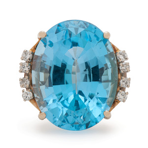14 Karat Gold Blue Topaz and Diamond Ring