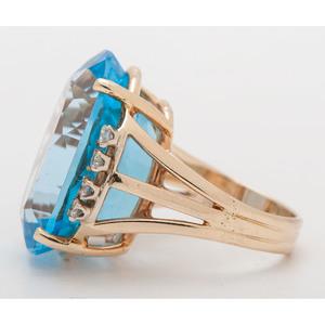 14 Karat Gold Blue Topaz and Diamond Ring