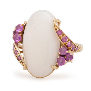 18 Karat Gold Opal and Pink Sapphire Ring