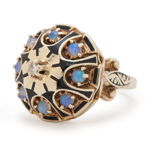 14 Karat Gold Synthetic Opal and Diamond Ring