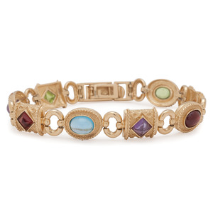 14 Karat Gold Multi Gemstone Bracelet