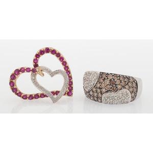 Heart Motif Jewelry in Karat Gold, Lot of Two