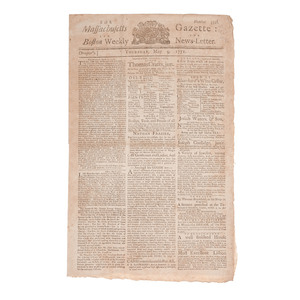 [Americana - 18th Century] The Massachusetts Gazette and Boston Weekly News-Letter, May 9, 1771, with Election of Hancock, Sam Adams, et al. in Boston Massacre Aftermath