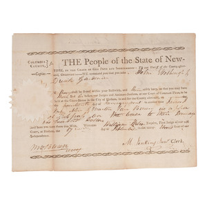 Martin Van Buren Twice-Signed Capias Warrant, 1808