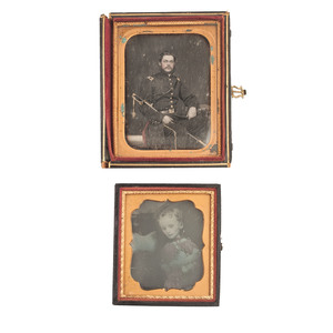 Unusual Pair of Daguerreotypes Featuring a Soldier and Postmortem View of his Daughter