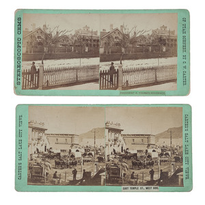 Salt Lake City, UT, Two Stereoviews, Incl. Brigham Young's House
