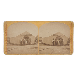 W.H. Jackson Stereoview of the Daily Reporter Staff, Corinne, Utah Territory, 1869