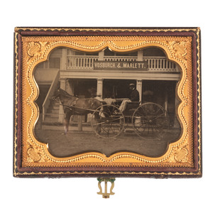 Quarter Plate Ambrotype of a Horse-Drawn Carriage and Storefront