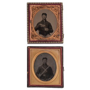 Two Sixth Plate Tintypes of the Same Civil War Soldier, Posed with his Sword and a Drink