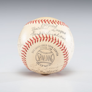 Cincinnati Reds 1940 World Series Champions Team-Signed Ball, Incl. Hall of Famers Lombardi and McKechnie