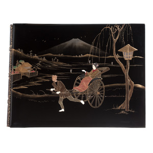 Exquisite Hand-Colored Japanese Photograph Album with Fine Covers and Original Case
