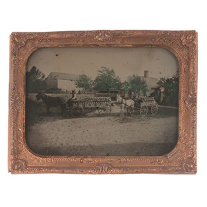 Half Plate Ambrotype of Delivery Men in Wagons, Probably Laden with Dairy