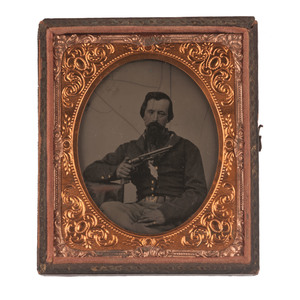 Sixth Plate Tintype of a Union Soldier with 1860 Army Revolver