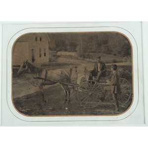 Full Plate Tintype of Two Men and a Horse-Drawn Buggy