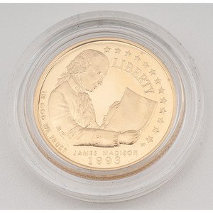 United States Bill of Rights $5 Gold 1993-W, Proof